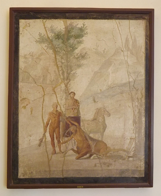 Wall Painting with Hercules Grabbing the Centaur Nessus in the Naples Archaeological Museum, July 2012