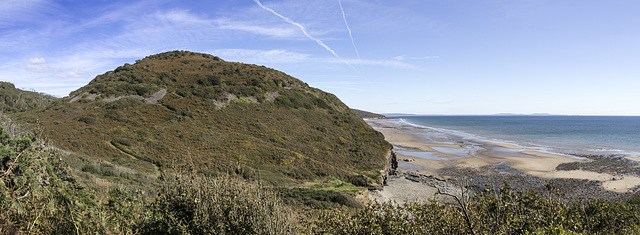 Marros Sands and Top Castle hill fort panorama