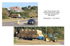 John Deere tractor with hay roll trailer - Bishopstone - 22 9 2021