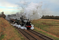 """LMS Class 5 (Black Five) 4-6-0 No. 45305 and SR Battle of Britain Class, 'Sir Keith Park' No. 34053 haul the """"Pines Express"""" ~ Jan 30th 2016"""