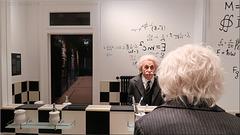 In the bathroom with Einstein.