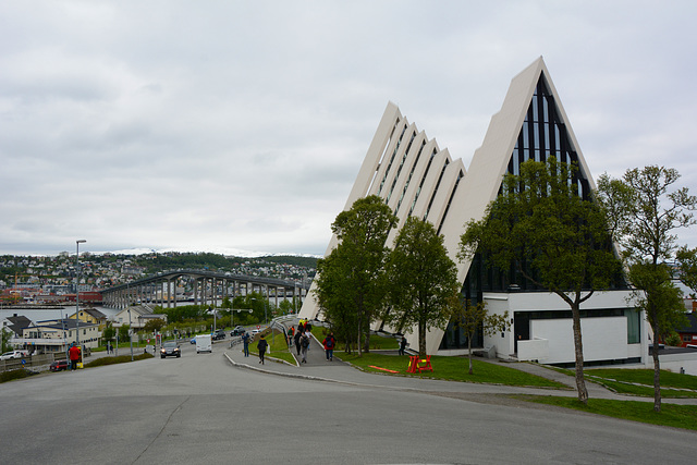 Norway, Arctic Cathedral and Tromsøbrua in the City of Tromsø
