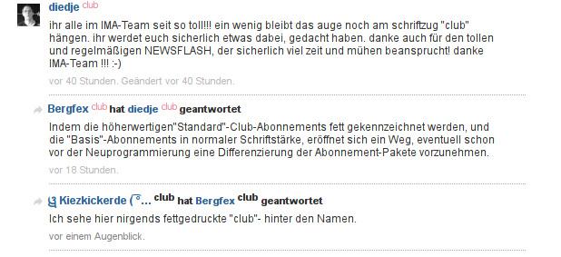 Clublogo. In drei verschiedenen Varianten bei einer Person. :o)