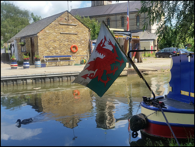 Welsh flag on the canal