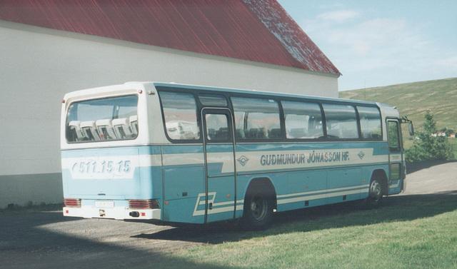Guðmundur Jónasson UK 732, a Mercedes-Benz O 303, seen at Lauger, northern Iceland – 27 July 2002 (495-08)
