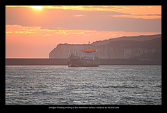 Freeway dredging Newhaven Harbour at sunset - 5.4.2016