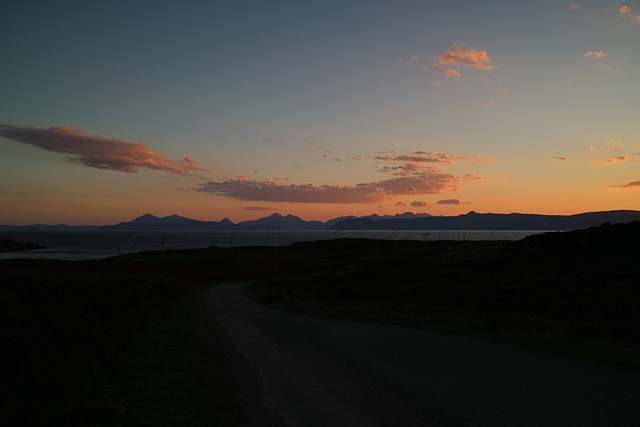Sunset over the Isle of Skye with the Cuilin ridge
