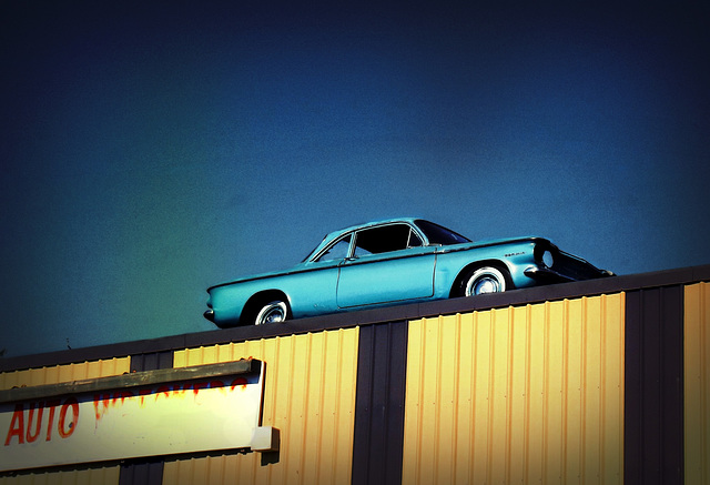 Corvair on a building