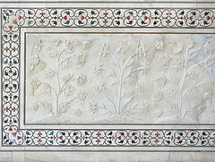 DSCN0761ac Flowers Sculpted on Marble Walls and Semi-precious Stones Inlaid