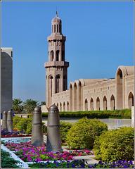 Mascate : Fiori e piante all'esterno della moskea Sultan Qaboos
