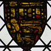 dorchester abbey church, oxon,c14 heraldry in nave glass, perhaps the earl of lancaster? (113)
