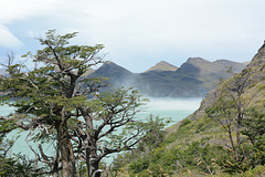 Chile, The Squally Wind Rises the Water Dust from the Surface of the Nordenskjöld Lake