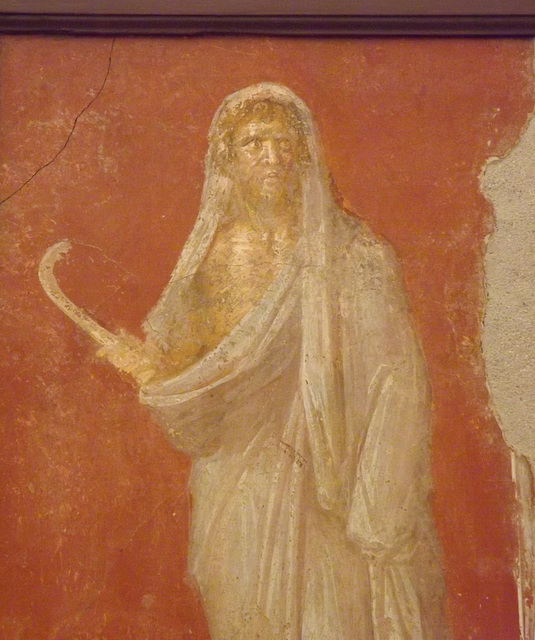 Detail of Saturn in a Winter Cloak Holding a Scythe Wall Painting in the Naples Archaeological Museum, June 2013
