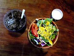 Coke, tiny salad in chipped bowl, blue cheese dressing