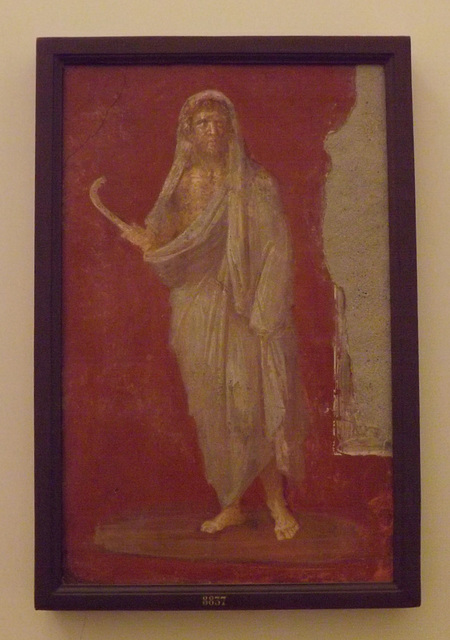 Saturn in a Winter Cloak Holding a Scythe Wall Painting in the Naples Archaeological Museum, June 2013
