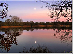 Over silent waters, with double moon