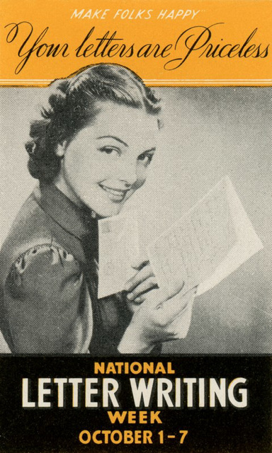 Your Letters Are Priceless, National Letter Writing Week, 1939