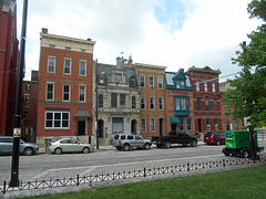 Over-the-Rhine houses next to St. John's church as seen from Washington Park