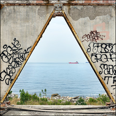 Abandoned Trieste - ship passing slowly