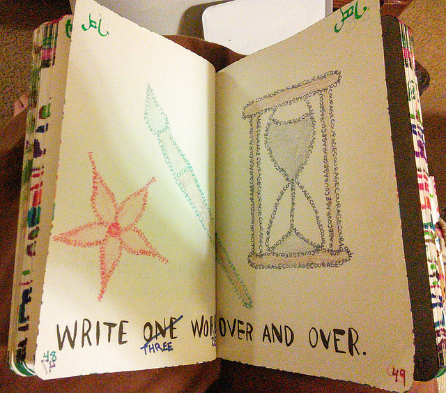 """Wreck This Journal - Working on the """"Write one word over and over"""" page"""