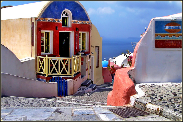 Santorini : Galanopoulos art gallery and Meteor Café - (971)