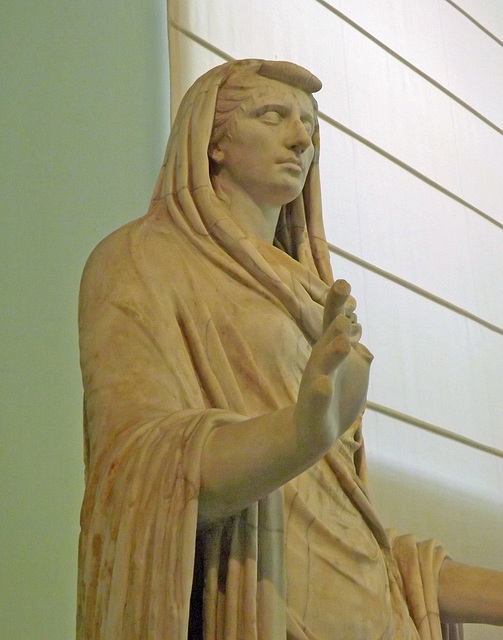 Detail of The So-Called Sybil, Portrait Statue of Octavia the Younger in the Naples Archaeological Museum, July 2012