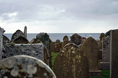 litchens on headstones at Skaill, cemetary of Deerness, Orkney Main