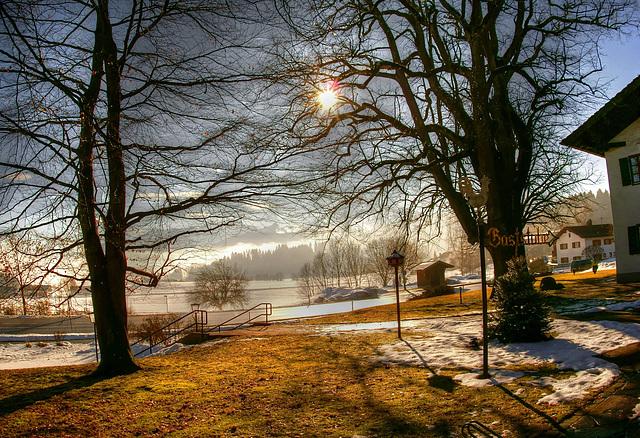 Der Nebel geht - die Sonne kommt. Beim Gockelwirt. ©UdoSm