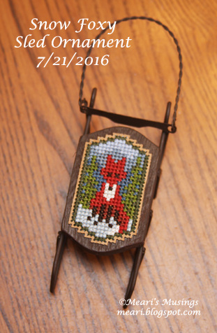 Snow Foxy Sled Ornament 7/21/2016