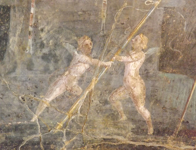 Detail of a Wall Painting of Cupids Near an Altar from a Villa Near the Palace at Portici in the Naples Archaeological Museum, July 2012