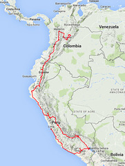 Peru, Ecuador & Colombia 2014 - Route map (produced from GPS record)