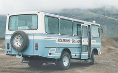 Kolbeinn Erlendsson's Mercedes-Benz coach R 364 during a stop at a pumice quarry on road 26 near Burfelsstod, Iceland - 22 July 2002 (491-06)