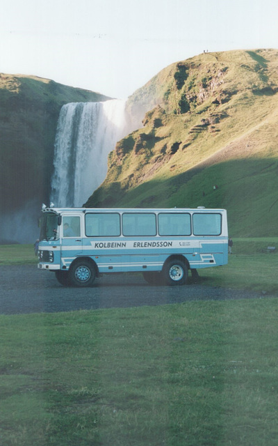 Kolbeinn Erlendsson's Mercedes-Benz coach R 364 in the evening sunshine at Skogafoss waterfall, Iceland - 22 July 2002 (490-32)
