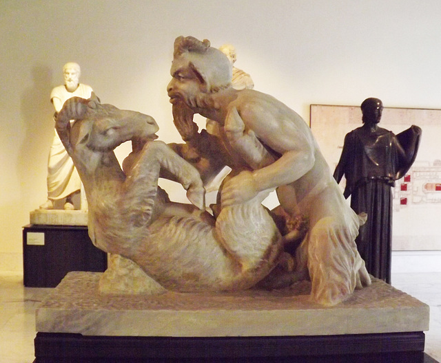 Pan and Goat Sculpture from the Villa dei Papiri in the Naples Archaeological Museum, June 2013