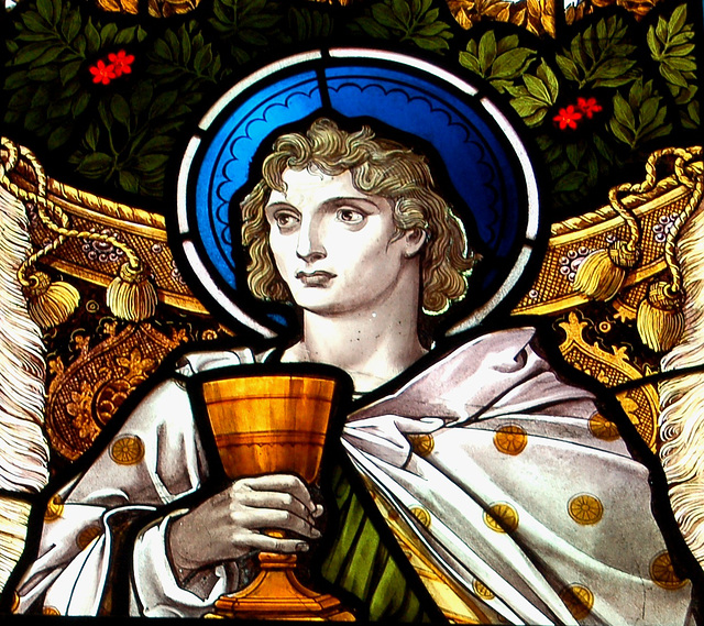 Detail of stained glass, Saint Peter's Church, Wenhaston, Suffolk