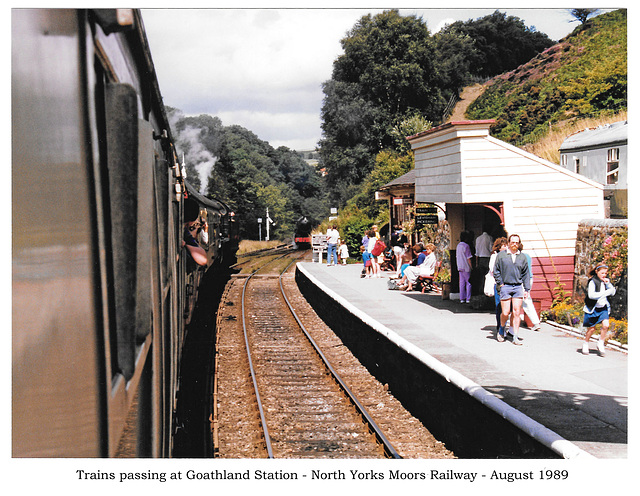 Trains passing at Goathland Station - North Yorks Moors Railway - August 1989