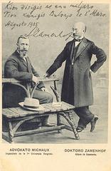 d-ro Zamenhof kun Alfred Michaux. organizinto de la 1-a UK - poŝtkarto, 1905