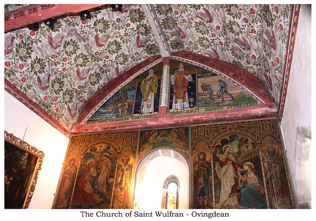 Ovingdean, Saint Wulfran - Sanctuary ceiling & east wall