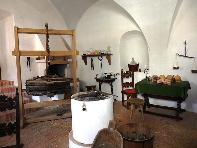 Alkemia laboratorio en la kastelo Třeboň