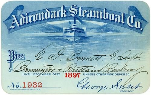 Adirondack Steamboat Company Pass, 1897