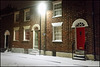 doorways on a snowy night