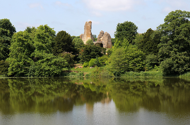Sherborne Old Castle reflected in the lake