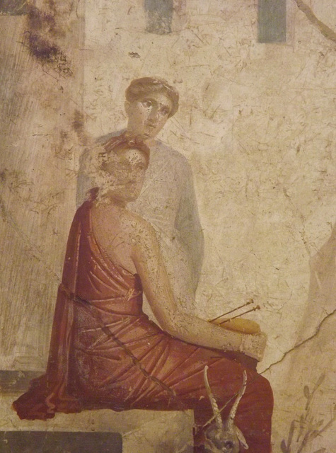Detail of the Pan on Flute with Nymphs Wall Painting in the Naples Archaeological Museum, July 2012