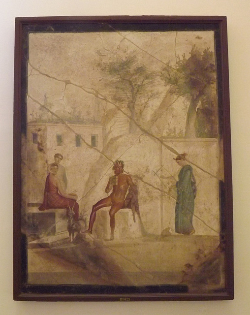 Pan on Flute with Nymphs Wall Painting in the Naples Archaeological Museum, July 2012