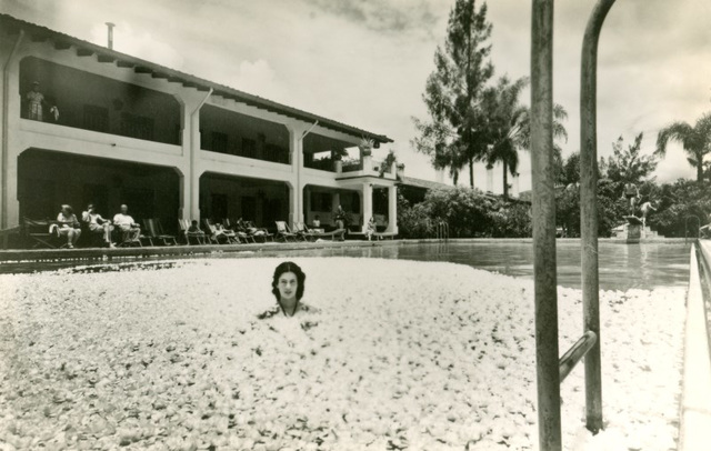 Woman and Gardenias in Swimming Pool, Hotel Ruiz Galindo, Fortín, Veracruz, Mexico