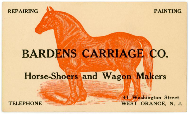 Bardens Carriage Company, Horseshoers and Wagonmakers, West Orange, New Jersey