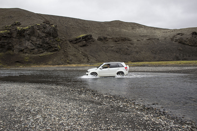 First river crossing in Iceland