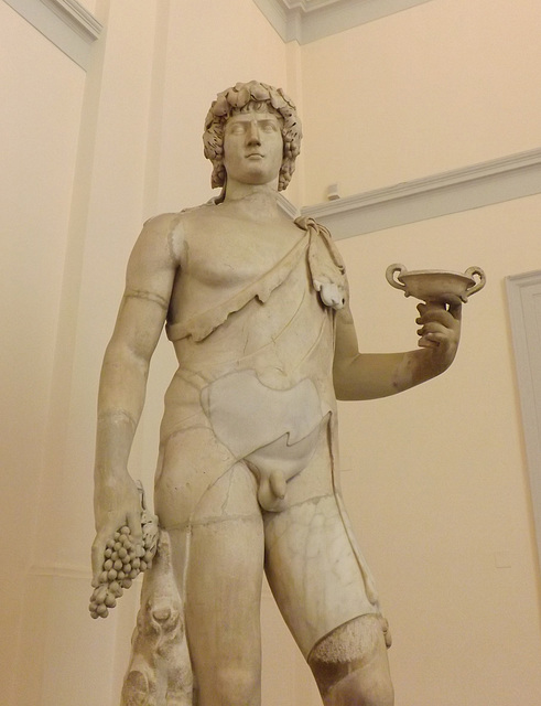 Detail of the Antinous-Bacchus in the Naples Archaeological Museum, July 2012