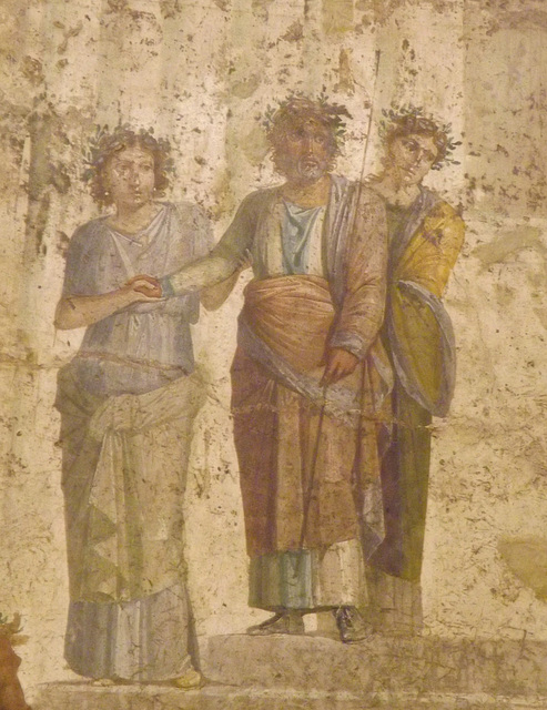 Detail of a Wall Painting with Jason and Pelias in the Naples Archaeological Museum, July 2012