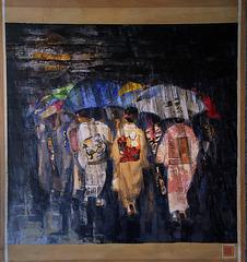 Geishas sous la pluie - Acrylique de Mérigault Bernard
